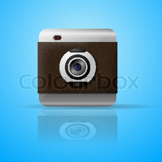 Icon camera on a blue background with reflection