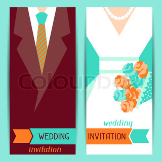 Wedding invitation vertical cards in retro style