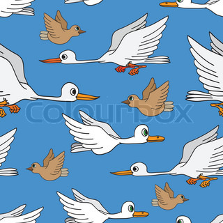 Seamless background Birds flying in the sky
