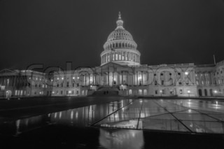 Capitol Building At Night Black And White Stock Photo Colourbox