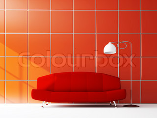 Sofa near the red wall