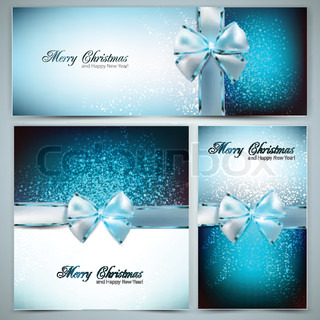 Holiday banners with ribbons Vector background