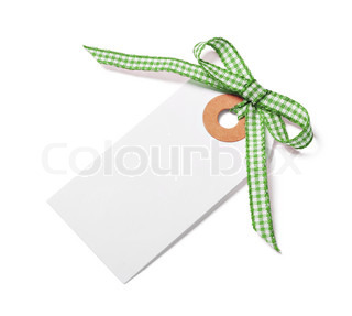 White tag with green ribbon