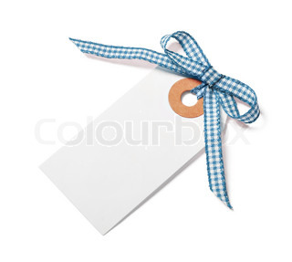 White tag with blue ribbon