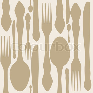 seamless pattern with forks, spoons end knifes Vector illustrat