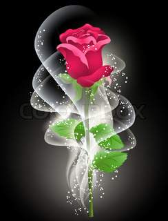 Rose and smoke on the black background | Vector | Colourbox