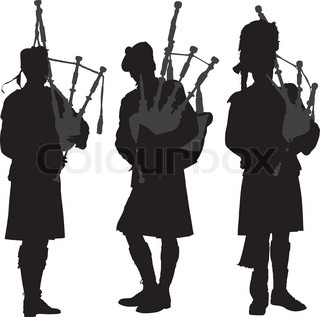 Silhouettes Of The Scots In Their National Costumes On A