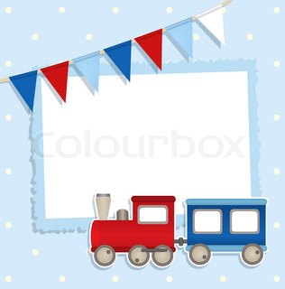 Holiday card with festive flags and sticker train and place for your text or photo