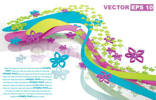 Dynamic abstract vector composition of colorful flowers and ribbons. Edit and insert your text.