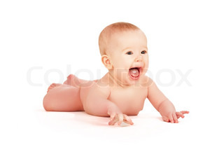 happy naked baby isolated