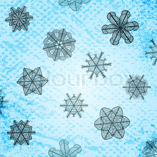 Vector vintage textured background with artistic stylized snowflakes