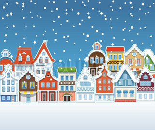 Illustration of colourful vintage buildings with snowfall in Amsterdam in winter