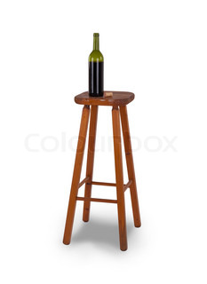 Old Stool And Bottle Of Wine Isolated On White Background