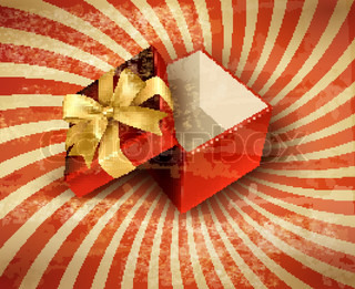 Holiday background with red gift ribbon with open gift box Vector