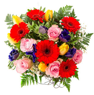 fresh colorful spring flowers arrangement