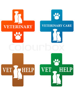 set of veterinary sign with pets