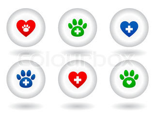 set of veterinary icons on white button