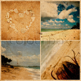 collage aus fotos am strand von grunge papier bali indonesien stock foto colourbox. Black Bedroom Furniture Sets. Home Design Ideas
