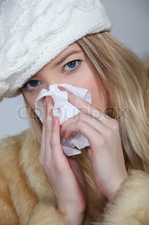 Woman suffering from cold