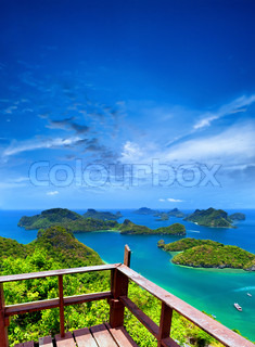 Ko Samui angthong national marine park archipelago in Thailand Panoramic islands view from viewpoint