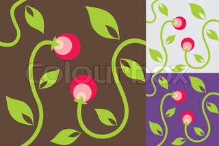 Abstract background with leaves and red berries
