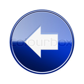 Arrow left icon glossy blue, isolated on white background