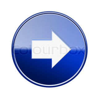 Arrow right icon glossy blue, isolated on white background