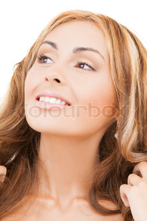 face of happy woman with long hair