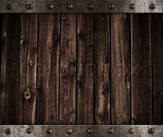 Wooden Background With Metal Border And Rivets Stock