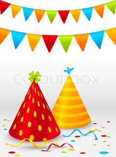 Birthday background with hats and flags