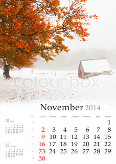 2014 Calendar November Beautiful autumn landscape in the mountains