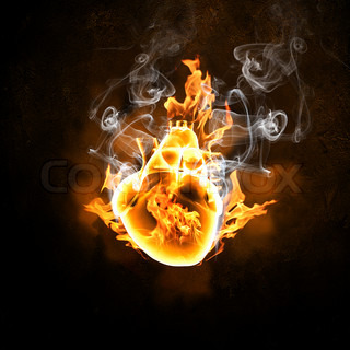 Illustration of human heart in fire flames against black background