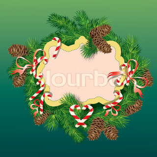 Christmas and New Year background - fir tree branches, pine cones and ...