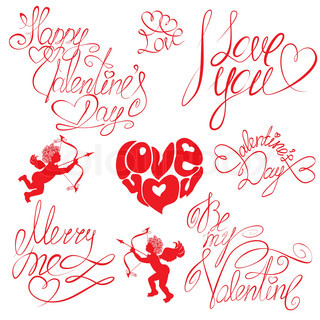 Set of hand written text: Happy Valentine`s Day, I love you, Merry me , etc Calligraphy elements for holidays or wedding designin vintage style