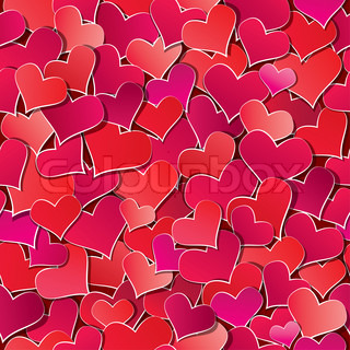 Seamless pattern with Red hearts confetti Valentine's day or Wedding background