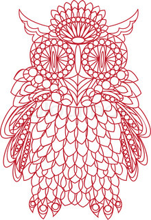 Decorative bird - owl is made of lace, isolated on white background