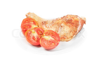 fried chicken wing with tomato isolated on white