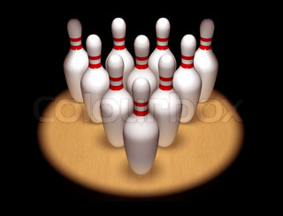 Ten pins standing to attention