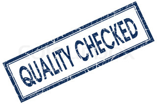 quality checked blue square stamp