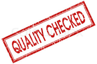 quality checked red square stamp