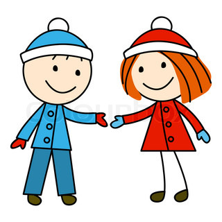 Girl and boy on white background