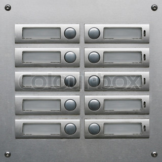 Apartment house doorbell plate with numbers | Stock Photo | Colourbox