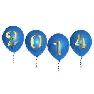 New Year blue balloons
