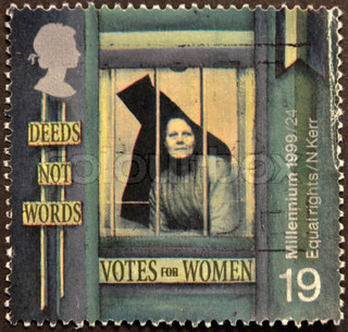 UNITED KINGDOM - CIRCA 1999: A stamp printed in Great Britain shows Suffragette behind Prison Window 'Equal Rights for Women', circa 1999