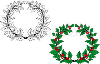 Christmas Outline Holly Round Wreaths Set For Holiday Design With