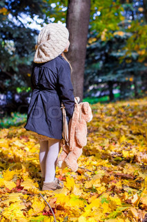 Rear view of charming little girl with a backpack-bear in the autumn sunny forest
