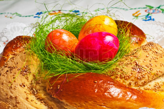 easter bread with painted eggs