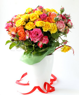 different color roses (yellow, red, pink)