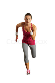 running woman isolated on white