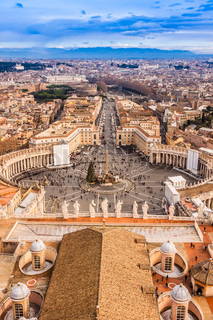 Rome, Italy Famous Saint Peter's Square in Vatican and aerial view of the city